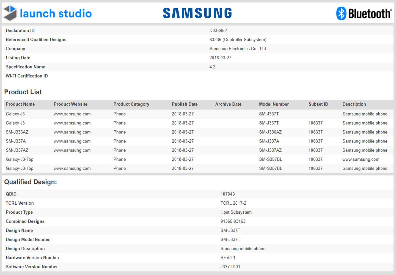 Samsung Galaxy J3 Top