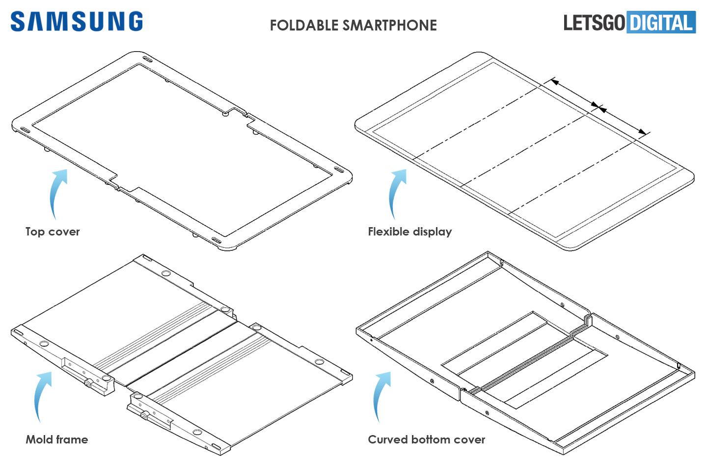 Opvouwbare Samsung telefoon ontwerp