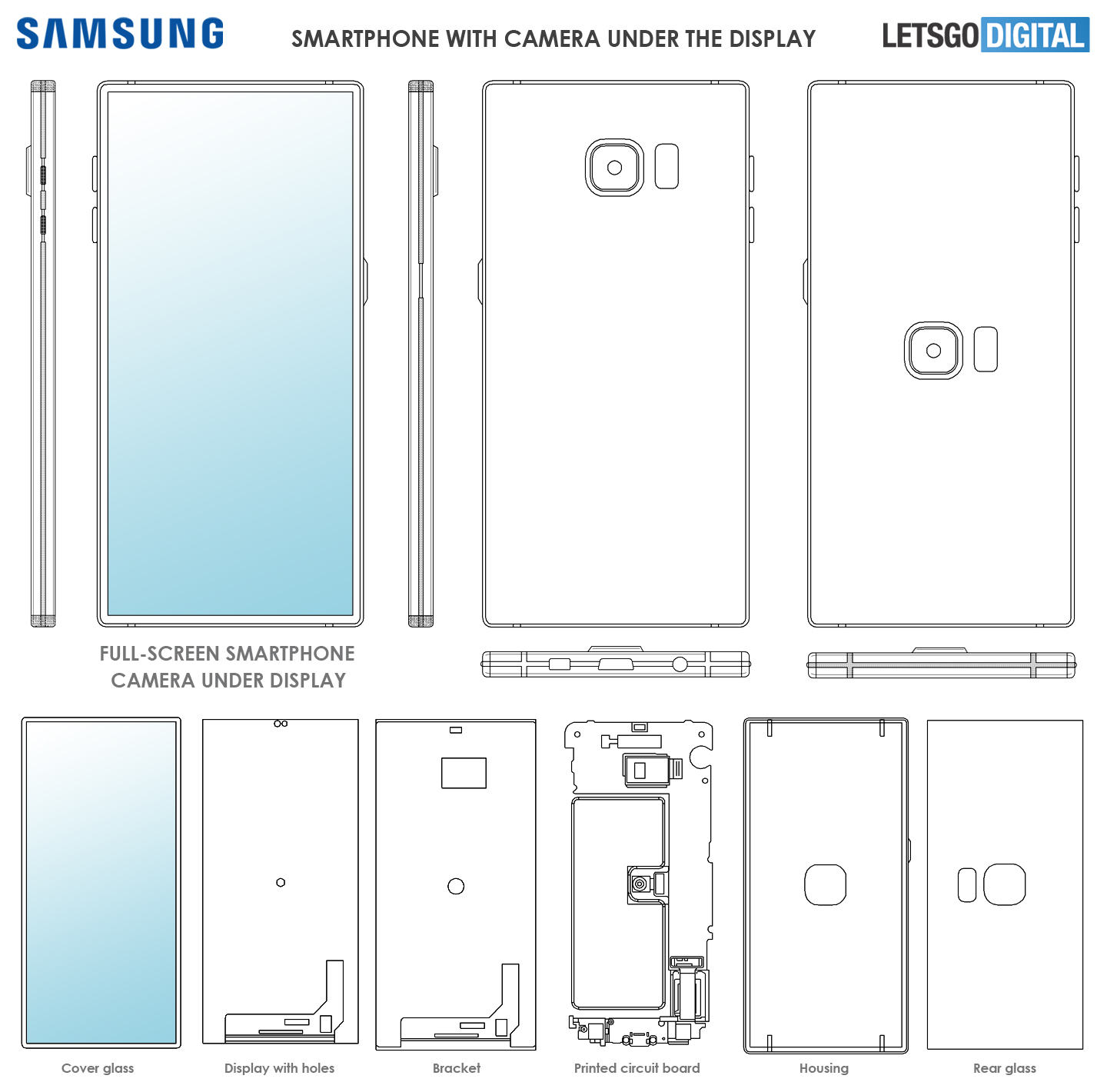 Samsung smartphone met camera onder display