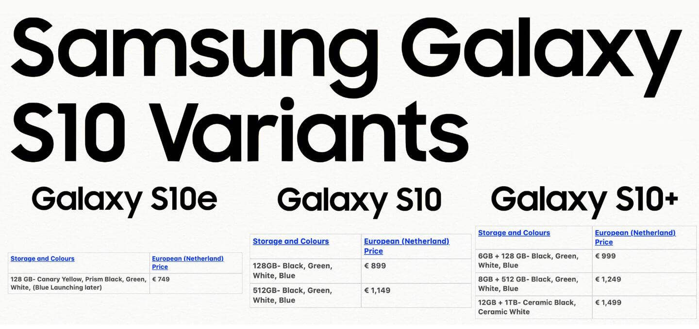 Galaxy S10 prijzen