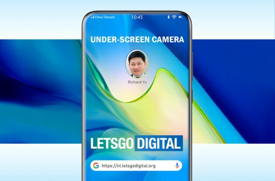 Huawei smartphone under-screen camera