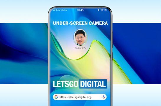 Huawei smartphone under-screen camera