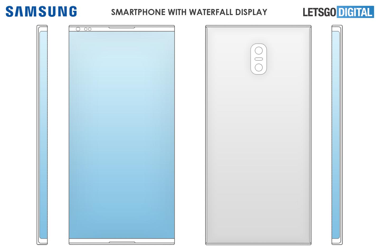 Samsung smartphone waterfall display
