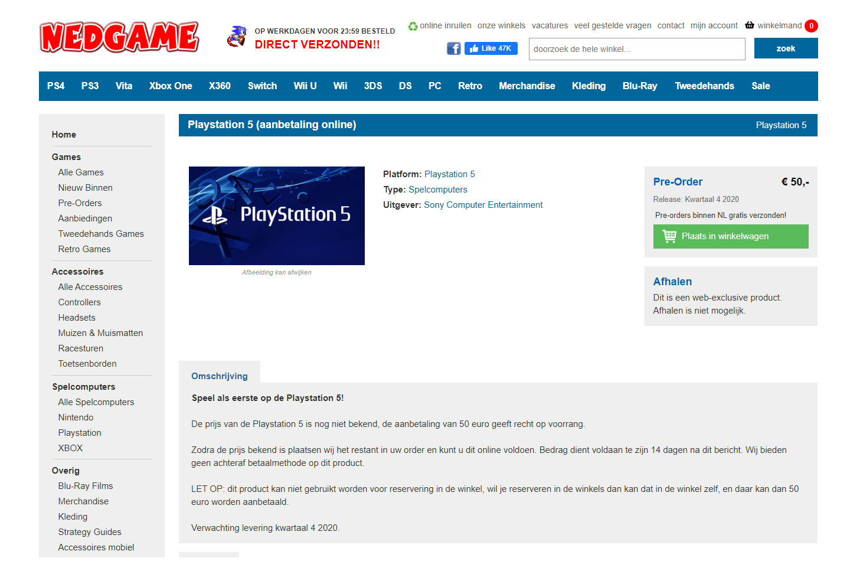 PS5 pre-order Nedgame
