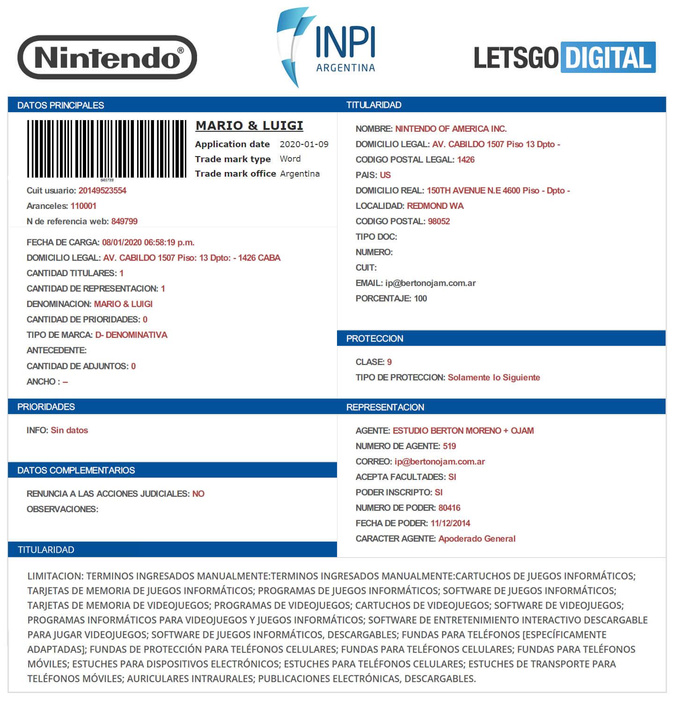Jeu Nintendo Mario Luigi 2020