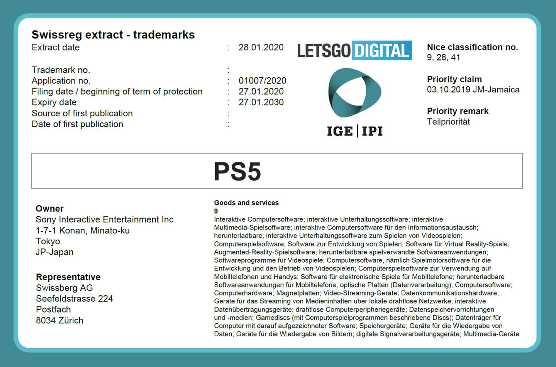 PS5 trademark