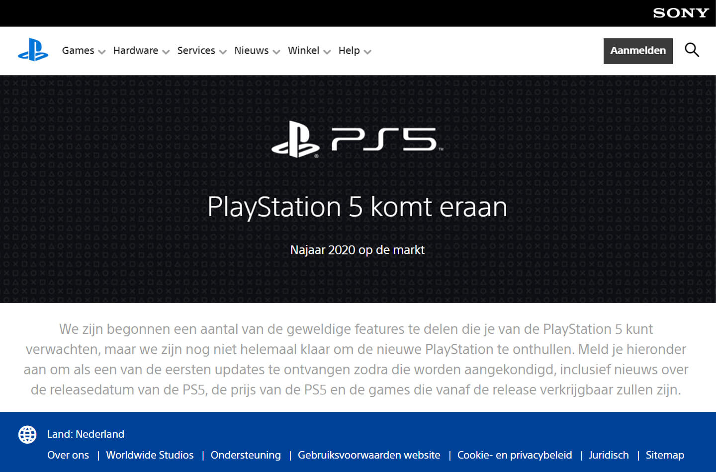 Sony Playstation 5 website