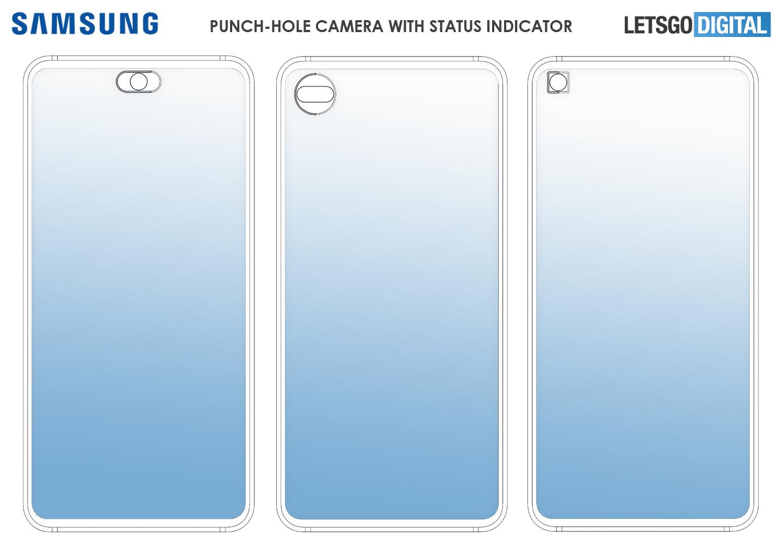 Samsung smartphone status indicator selfie camera