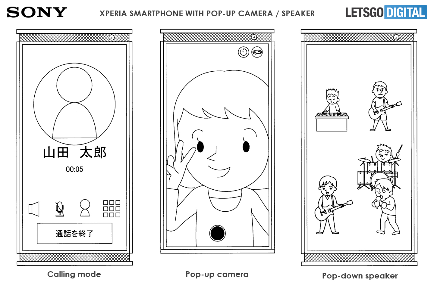 Sony smartphone pop-up camera