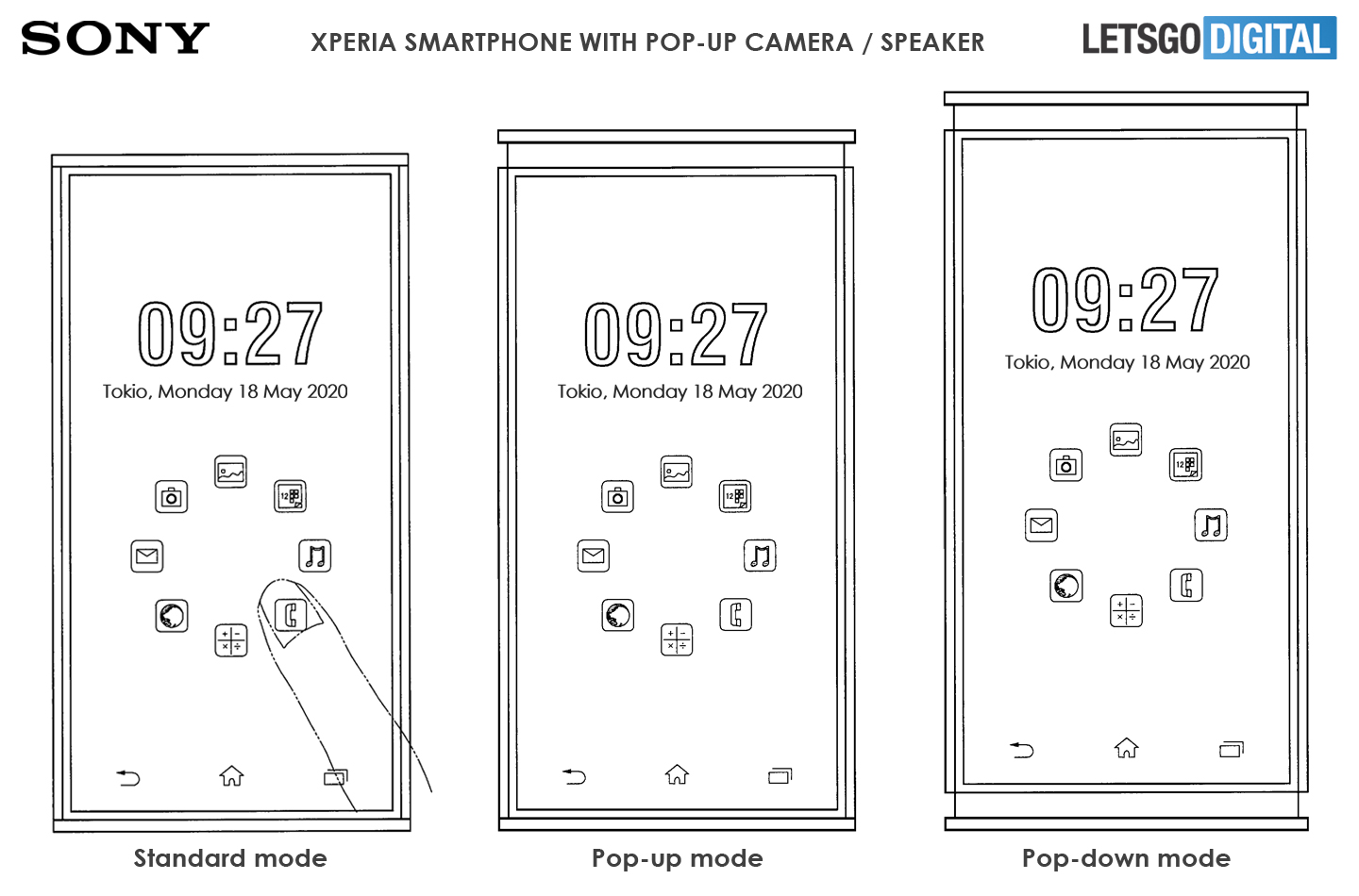 Xperia smartphone pop-down speaker