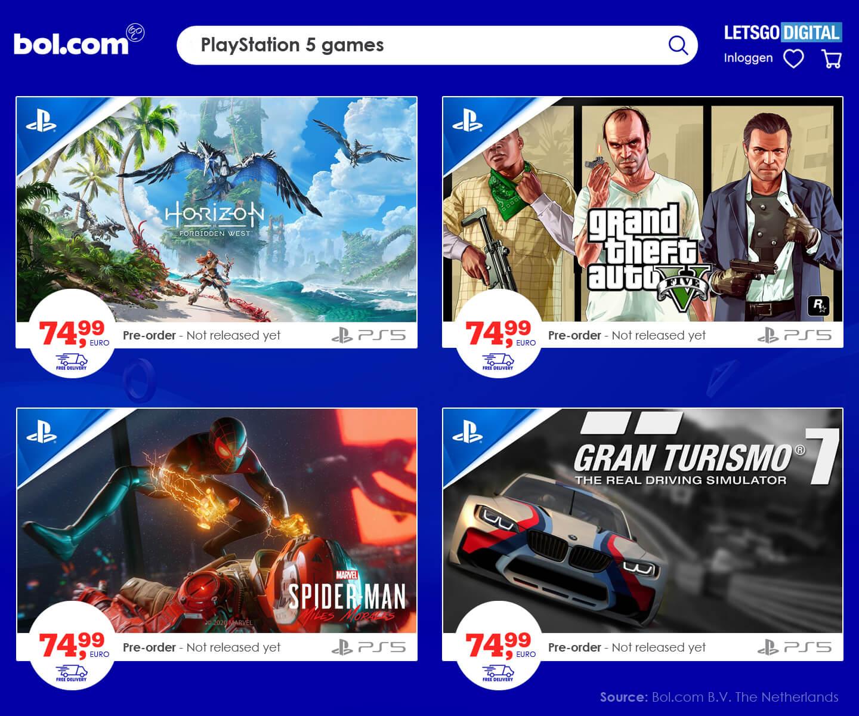 PS5 games Bol prijzen