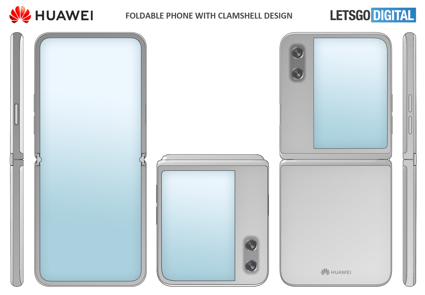 Huawei opvouwbare smartphone cover display clamshell model