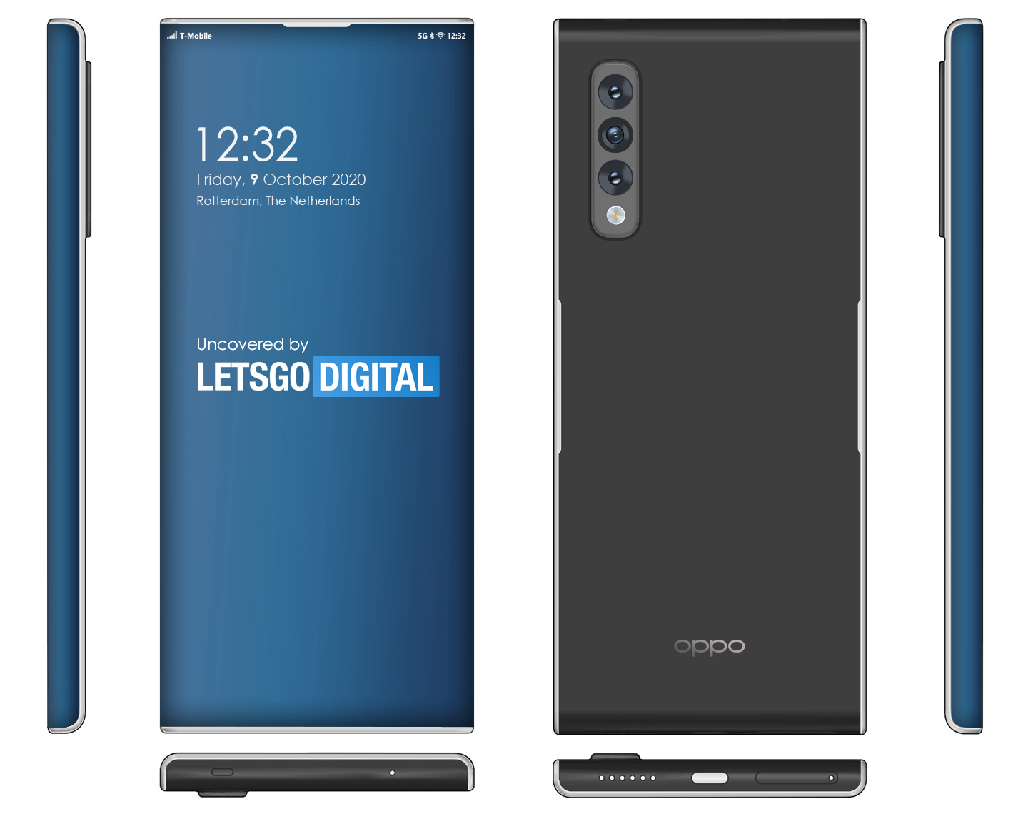 Oppo 5G telefoon super curved display