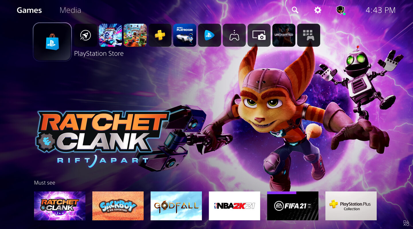 PlayStation 5 home screen