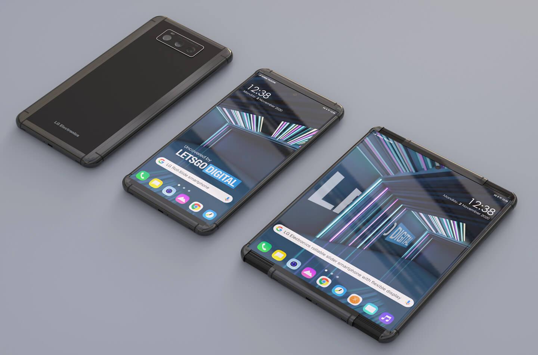 Telefoon met oprolbaar display