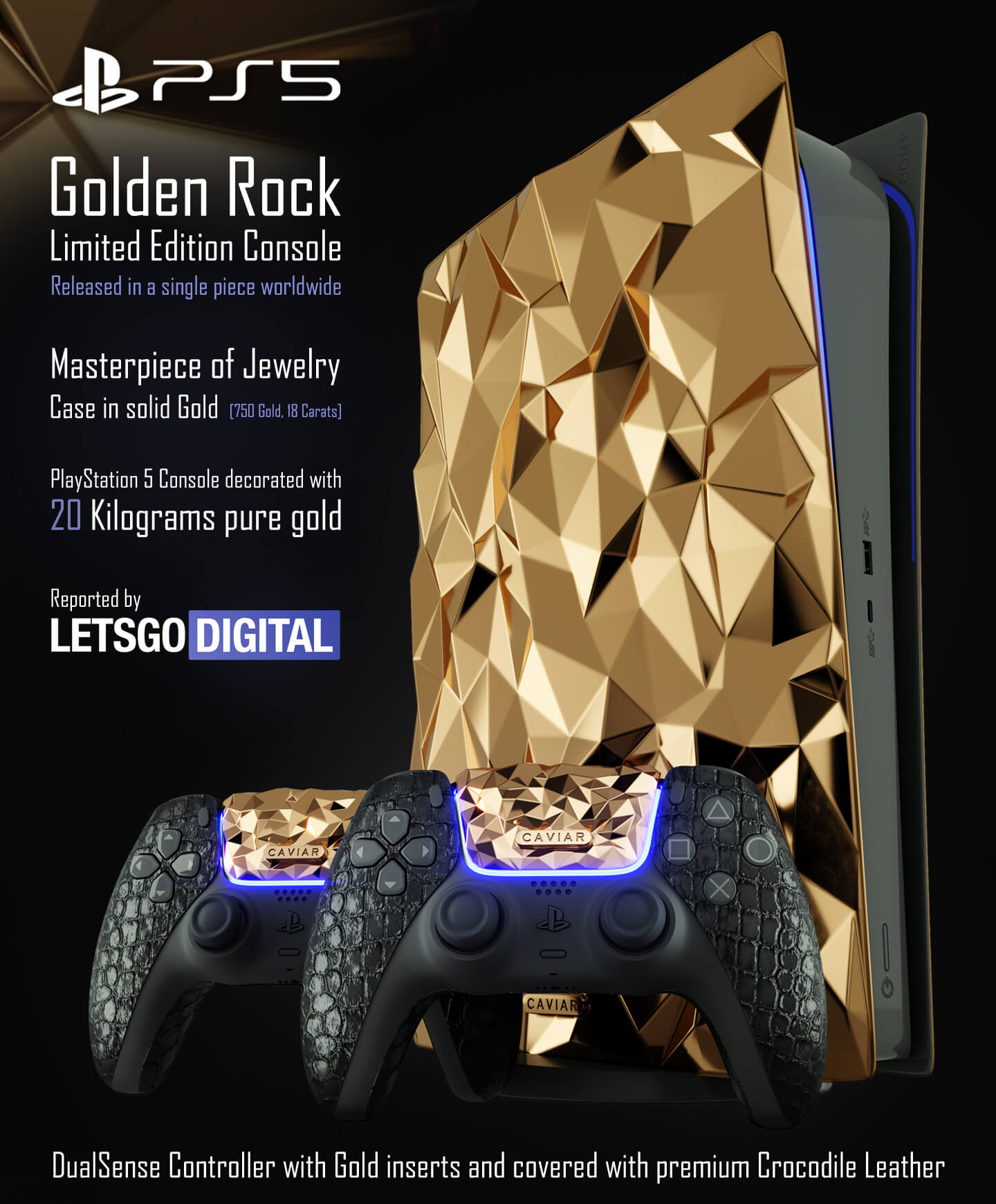 Sony PS5 limited edition console goud