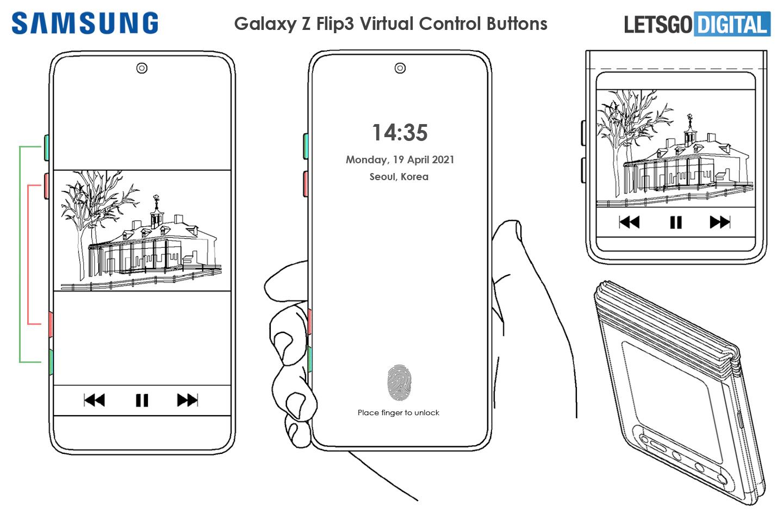 Samsung Z Flip 3 virtual control buttons