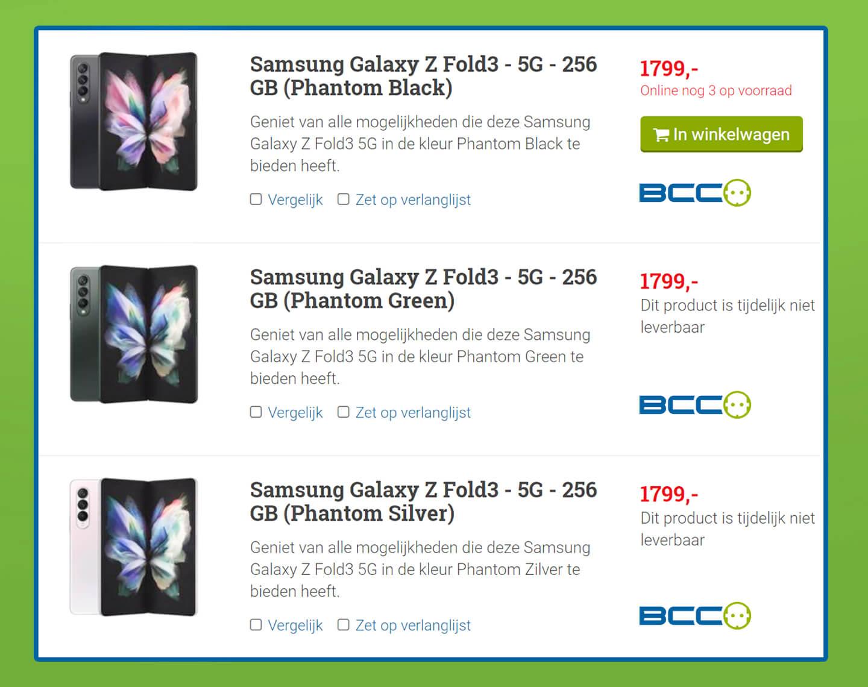 Samsung Z Fold 3 kopen zonder abonnement